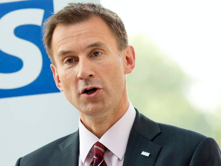 Britain's Health Secretary Jeremy Hunt  delivers a speech at the Evelina London Children's Hospital