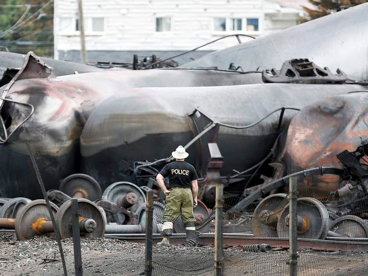 The mangled remains of a freight train that exploded in Lac-Megantic, Canada
