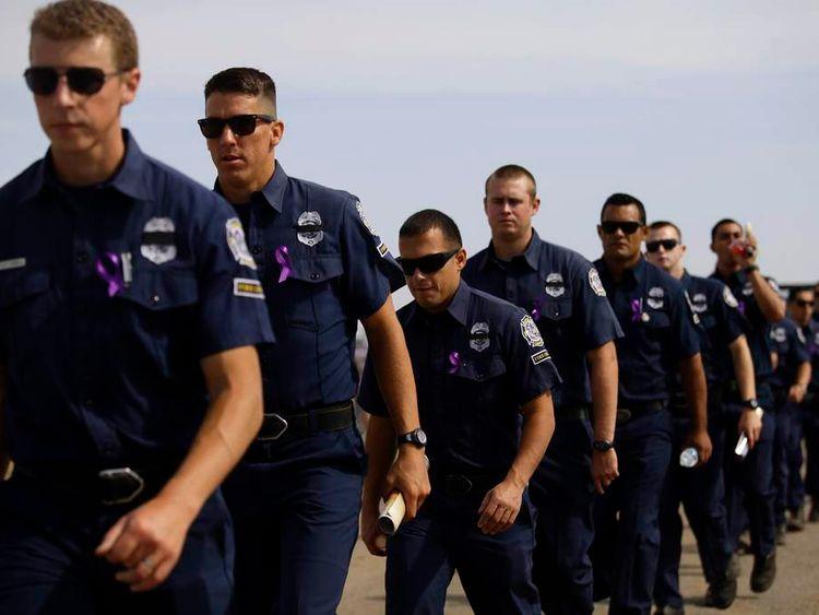 Ventura County Fire Crew attend a memorial for the Prescott Fire Department's Granite Mountain Interagency Hot Shot Crew in Prescott Valley