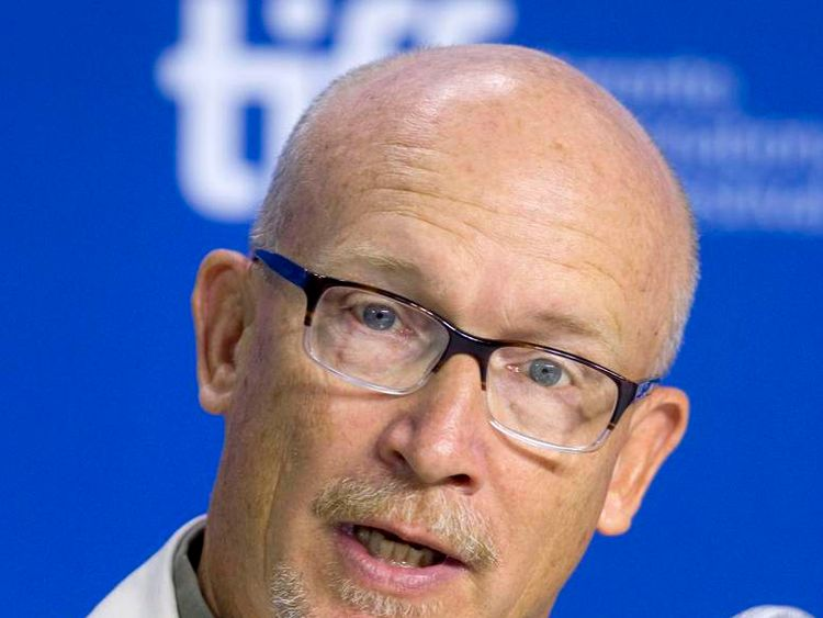 "Director Alex Gibney attends a news conference for the film ""The Armstrong Lie"" at the 38th Toronto International Film Festival"