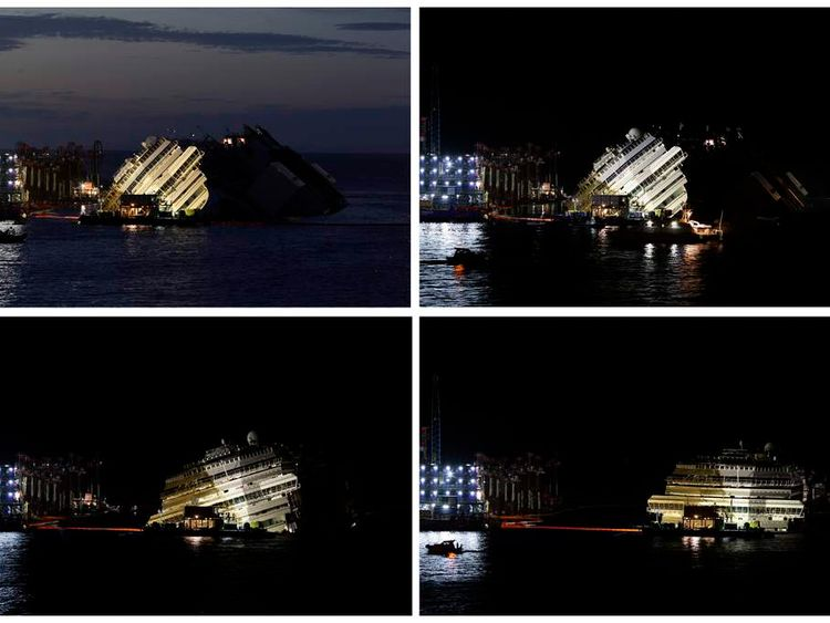 """A combination photo shows the capsized cruise liner Costa Concordia during and at the end of the """"parbuckling"""" operation outside Giglio harbour"""