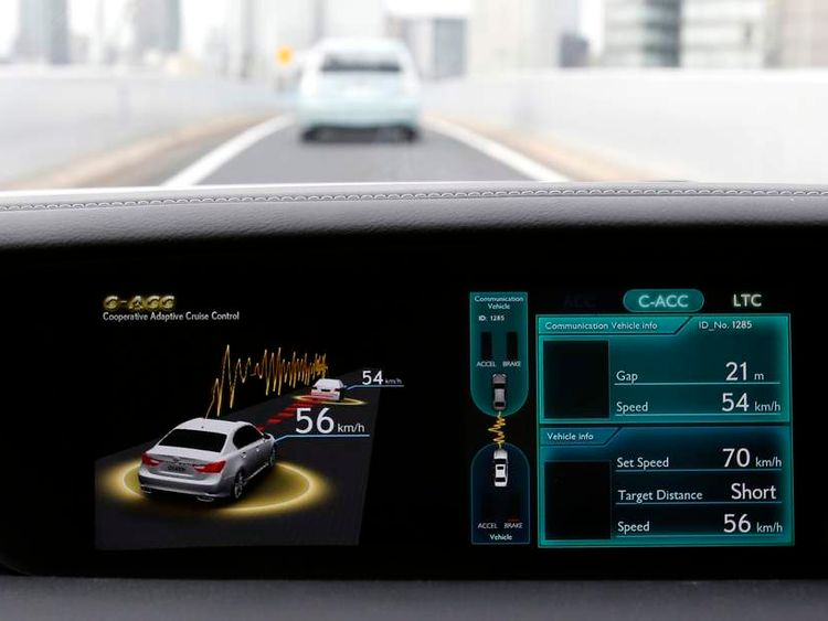 A display on a Toyota test car shows the Cooperative-adaptive Cruise Control in Tokyo