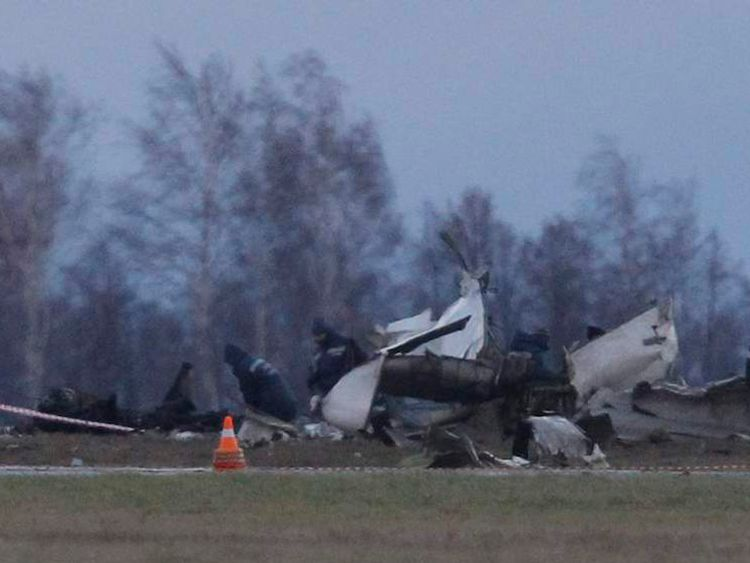 Wreckage is seen at the site of a Tatarstan Airlines Boeing 737 crash at Kazan airport