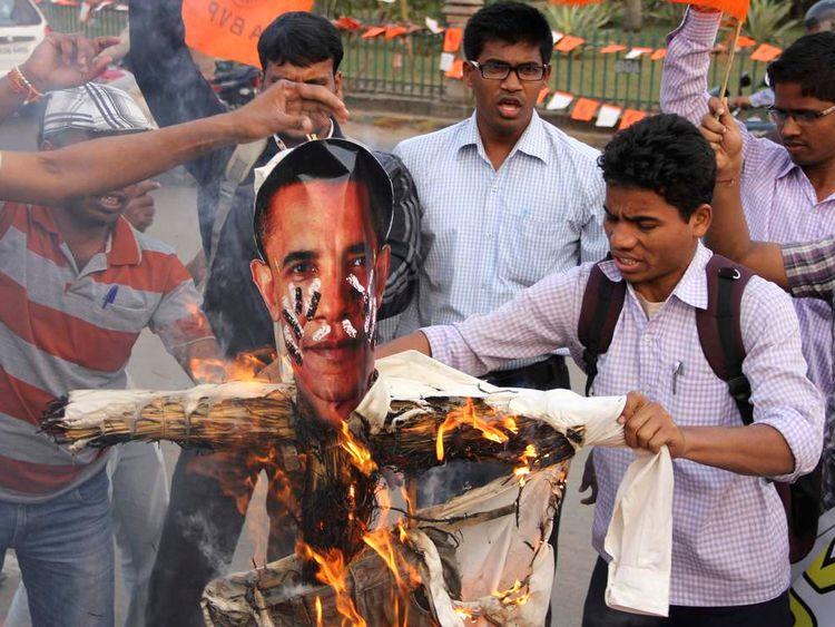Activists of Akhil Bharatiya Vidyarthi Parishad (ABVP), linked to India's main opposition Bharatiya Janata Party (BJP), burn an effigy in Bhubaneswar