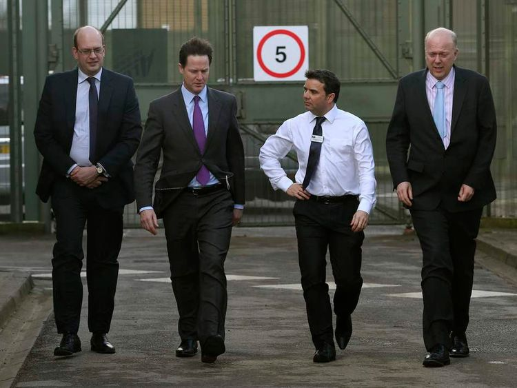 Local Member of Parliament Mark Reckless walks with Deputy Prime Minister Nick Clegg at the Cookham Wood Young Offenders Institution in Rochester.