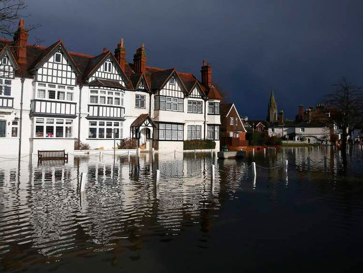 The river Thames floods the village of Datchet