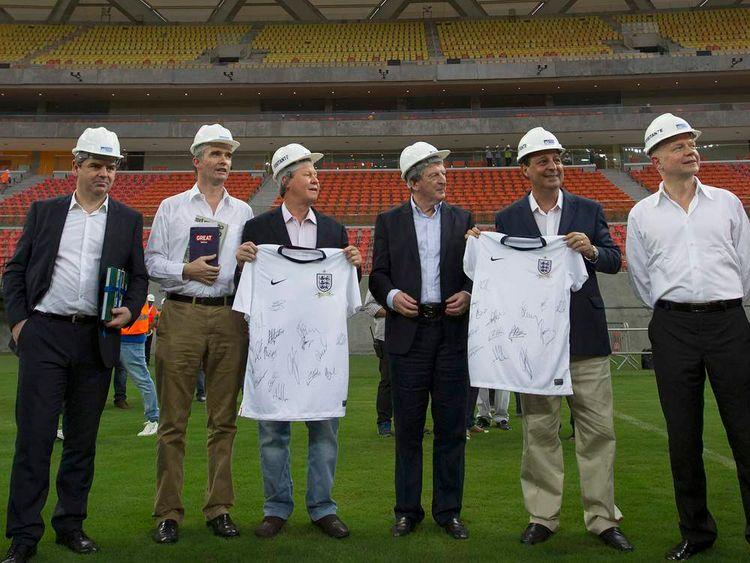 England coach Roy Hodgson at the Arena Amazonia soccer stadium