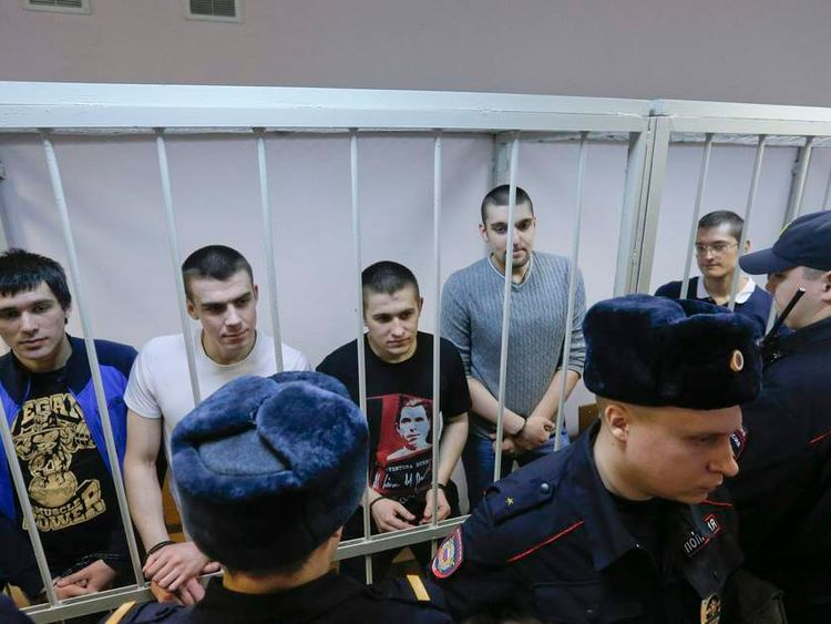 "Defendants in the ""Bolotnaya"" case wait for their sentencing during a court hearing in Moscow"