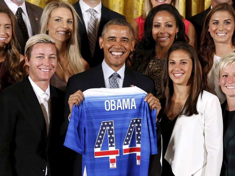 Obama honors the US women's soccer team at the White House in Washington