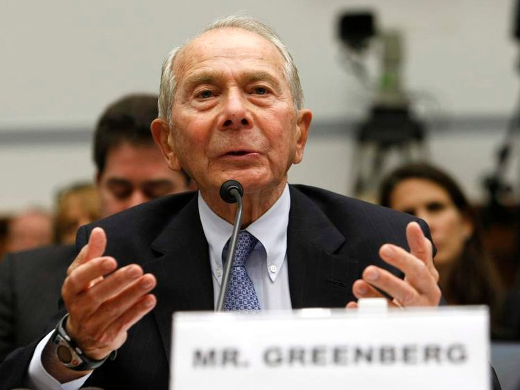 Former AIG CEO Greenberg testifies on Capitol Hill in Washington