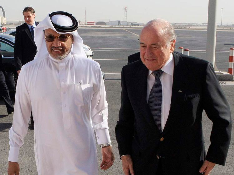 Mohamed Bin Hammam, the president of the AFC, receives FIFA President Blatter at Doha airport