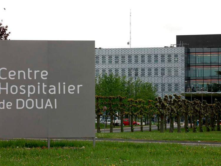 A general view shows Douai hospital