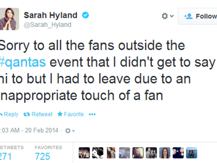 Tweet from Sarah Hyland