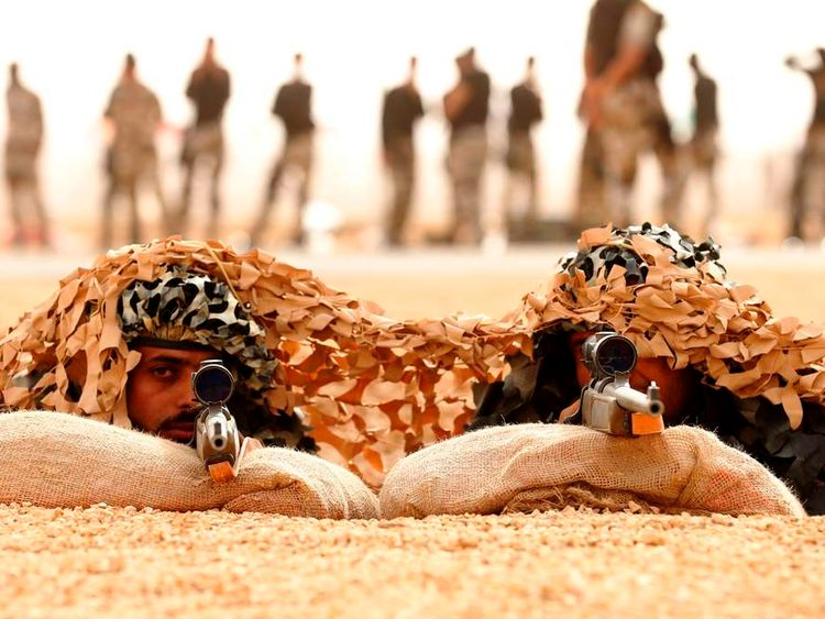 Library pictures of Saudi special forces at a training session in March