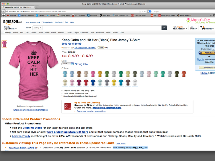 Keep Calm and Hit Her t shirts on Amazon