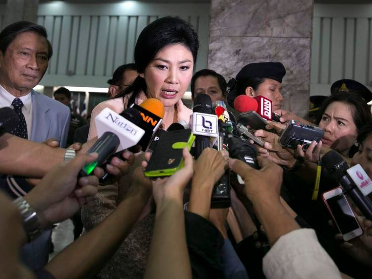 Yingluck Shinawatra speaks as Thailand declares a state of emergency