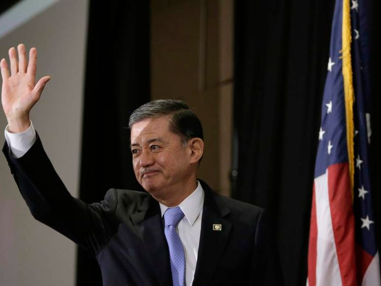 United States Veterans Affairs Secretary Eric Shinseki arrives to address The National Coalition for Homeless Veterans conference in Washington