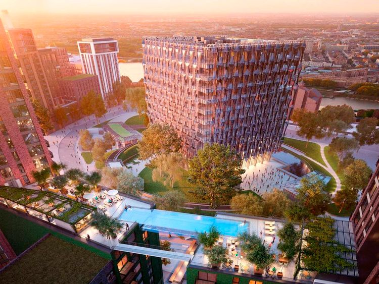 Proposed swimming pool linking two blocks of flats at Embassy Gardens, London