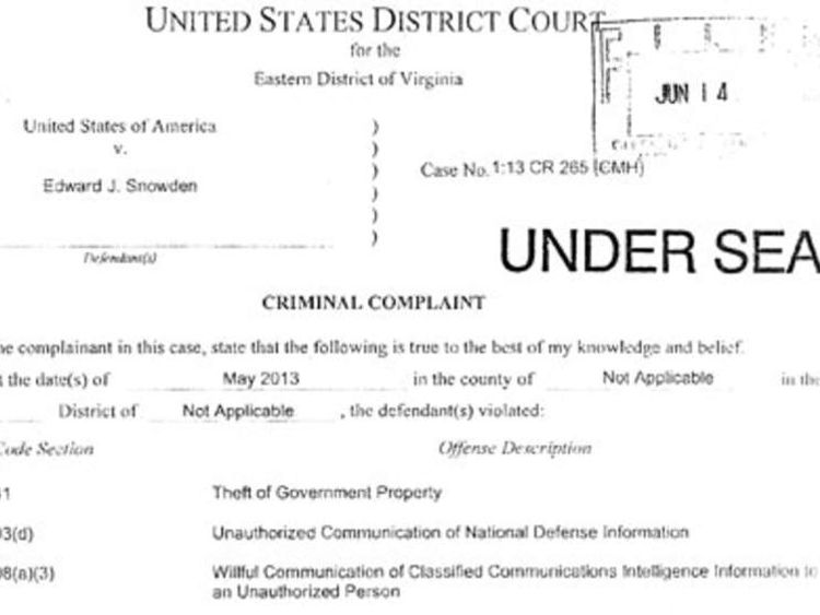 Edward Snowden charge sheet