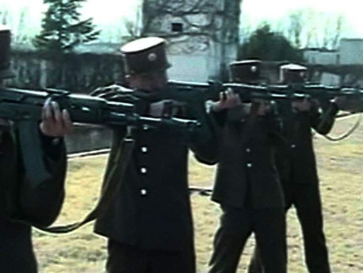 Video released by North Korea's state news agency shows soldiers in training.