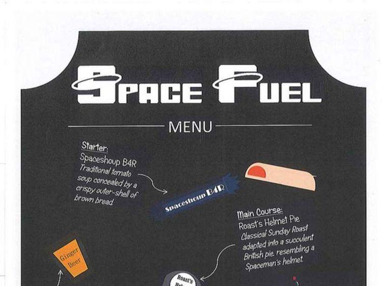 Space Fuel menu for British ESA astronaut Tim Peake