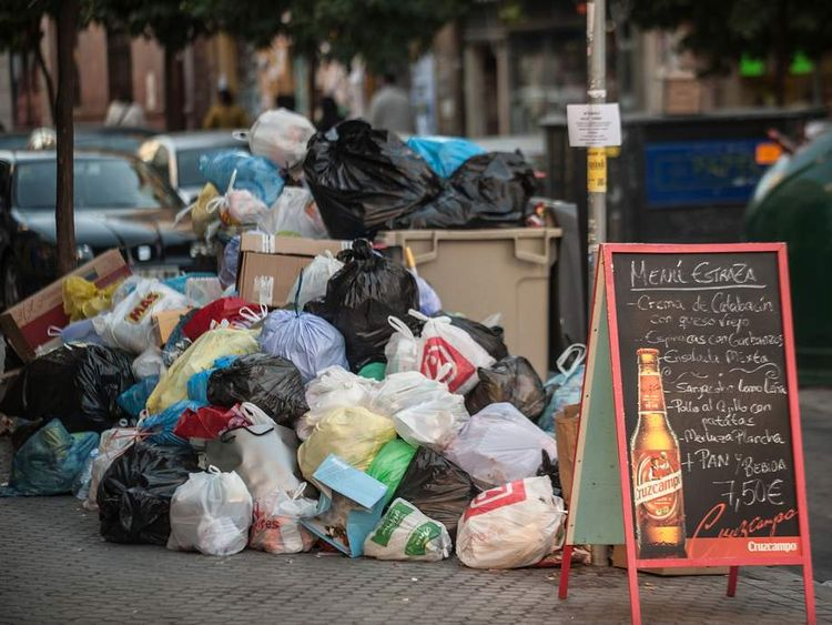 Rubbish on the streets of Spain