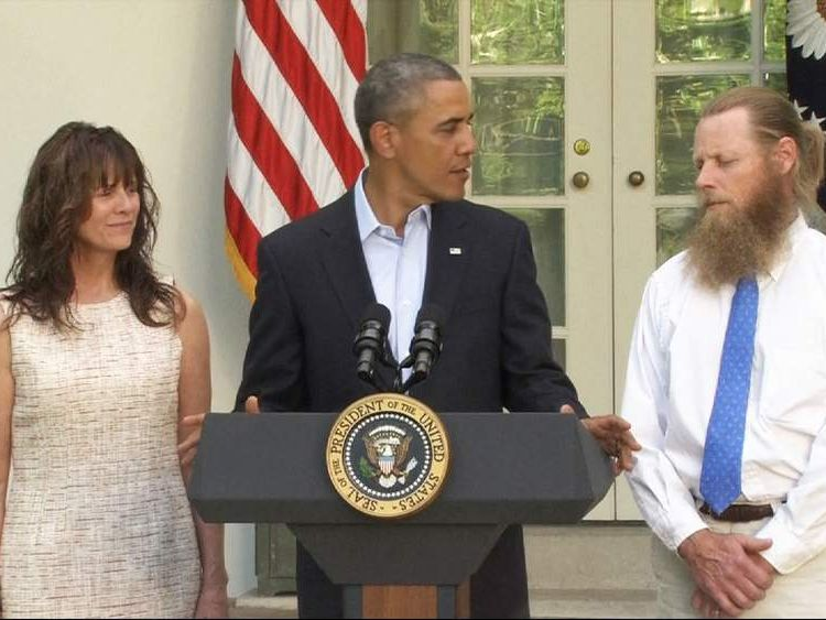 Obama with parents of Sergeant Bowe Bergdahl