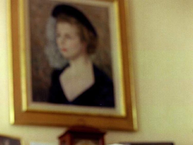 Margaret Thatcher sits for a 70th birthday photograph at her London home