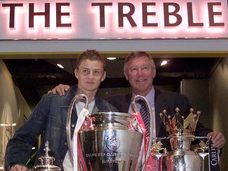 MANCHESTER UNITED MANAGER SIR ALEX FERGUSON AND OLE GUNNAR SOLSKJAEROPEN A NEW MUSEUM AT OLD TRAFFORD.