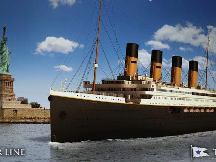 Artist rendering of Titanic II - New York Harbour