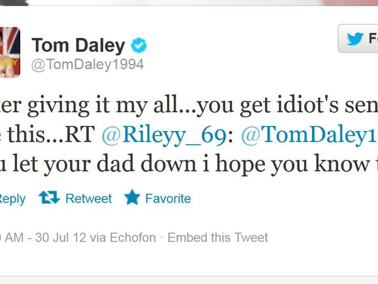 Tom Daley tweet after being abused on twitter