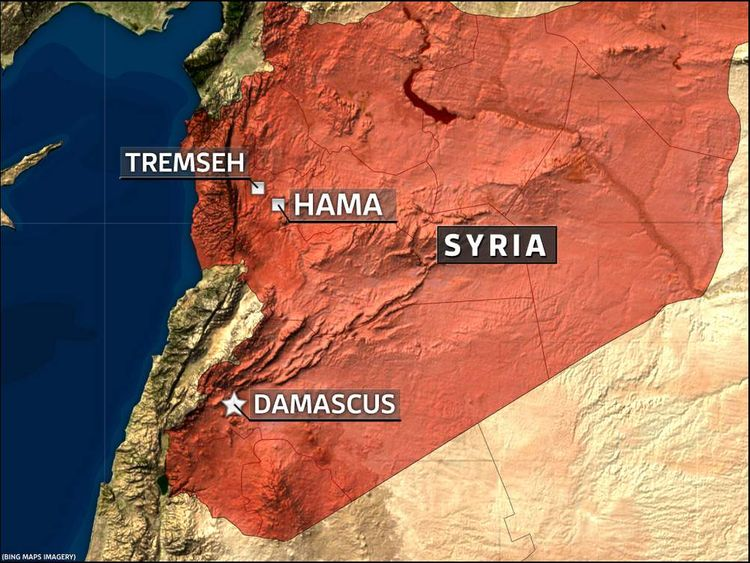 Map of Syria showing Tremseh and Hama