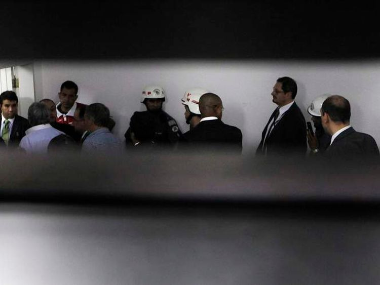 Sao Paulo security guards, police, members of coaching squads and referee