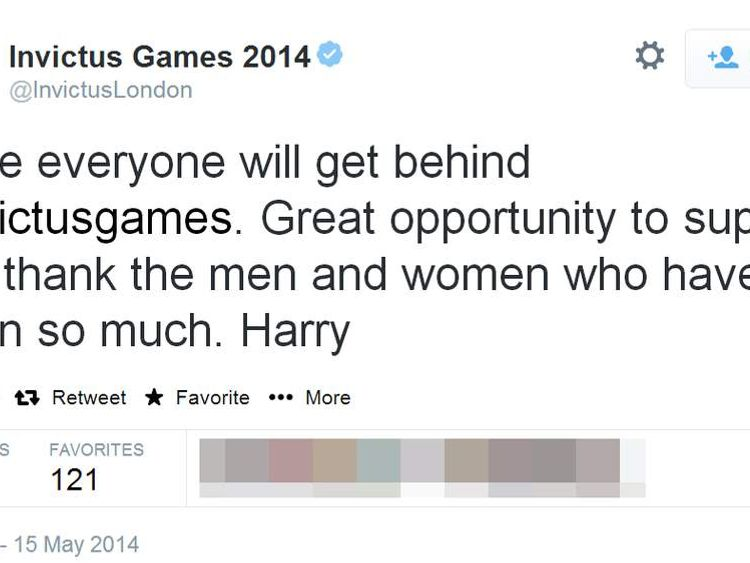 Prince Harry sends his first tweet