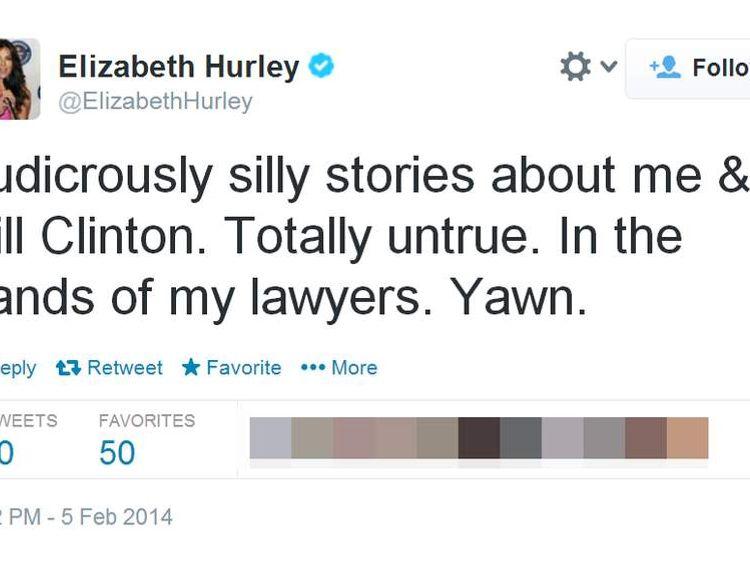 Elizabeth Hurley's tweet