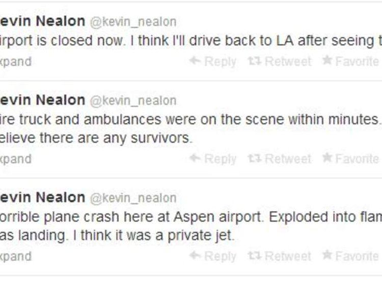 Plane crashes at Aspen - Kevin Nealon tweet