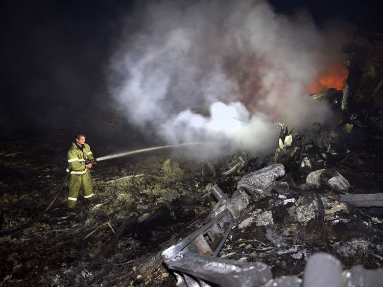 Firefighter at the scene of Malaysia Airlines jet crash in Ukraine