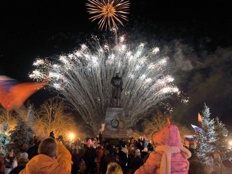 CRIMEA fireworks in the center of Simferopol
