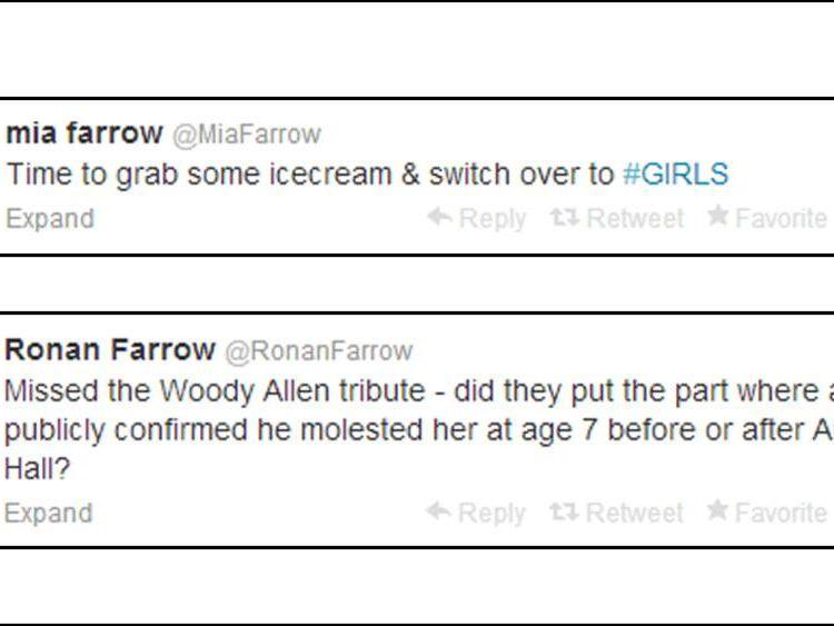 Mia Farrow and Ronan Farrow tweets