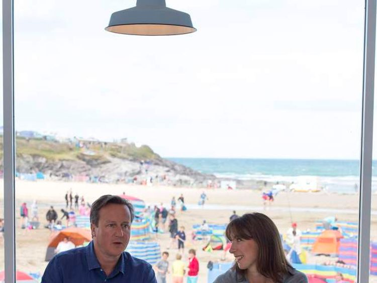Prime Minister David Cameron on holiday