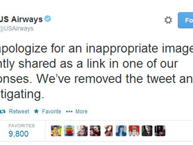 US airways apology over lewd tweet