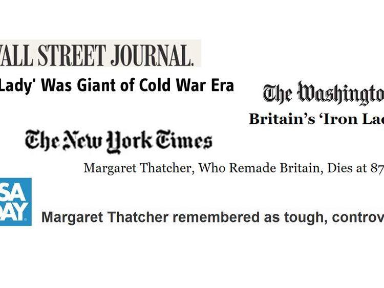 US Thatcher healdines