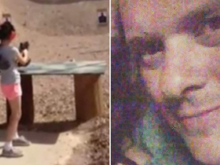 The girl at the gun range (L) and Charles Vacca (R)