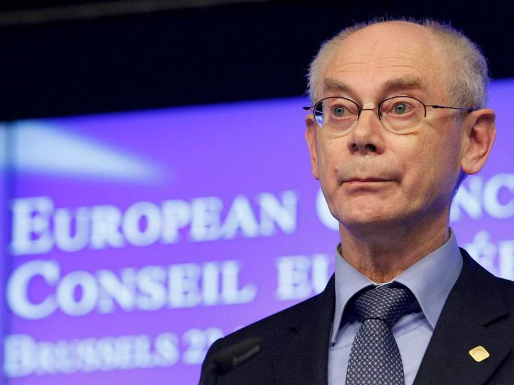European Council President Van Rompuy holds a news conference at the end of an EU leaders summit discussing the EU's long-term budget in Brussels