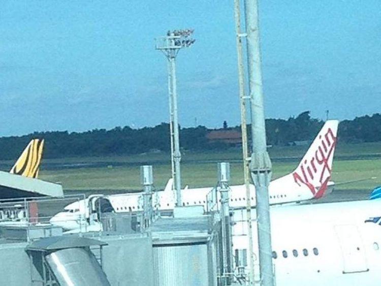 The plane at Bali airport