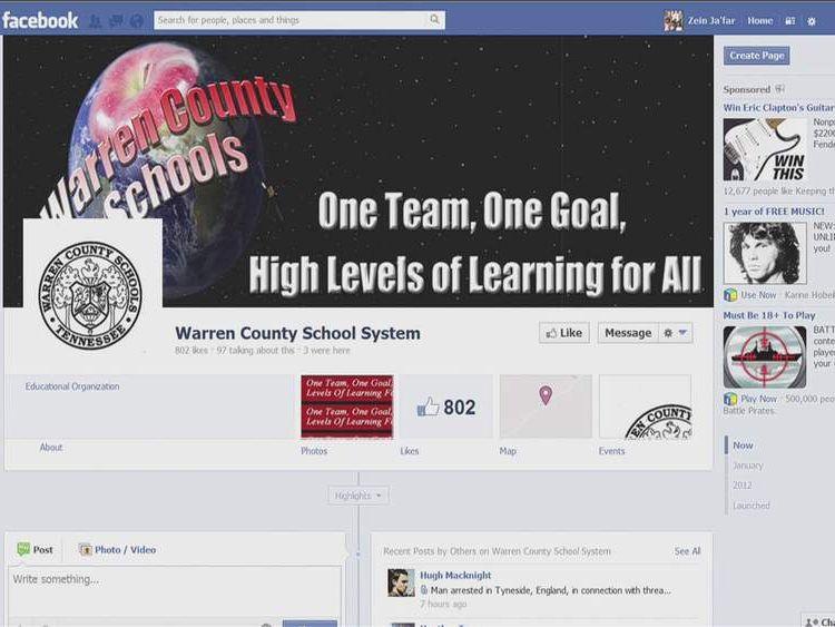 Facebook page for Warren County Schools