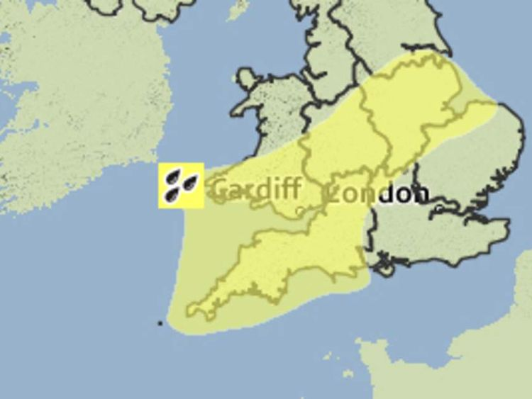 A yellow rain weather warning was issued for much of southern England