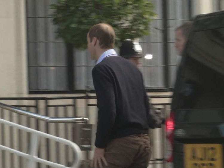 Prince William arrives at hospital