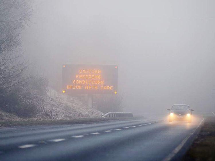 Drivers in freezing fog