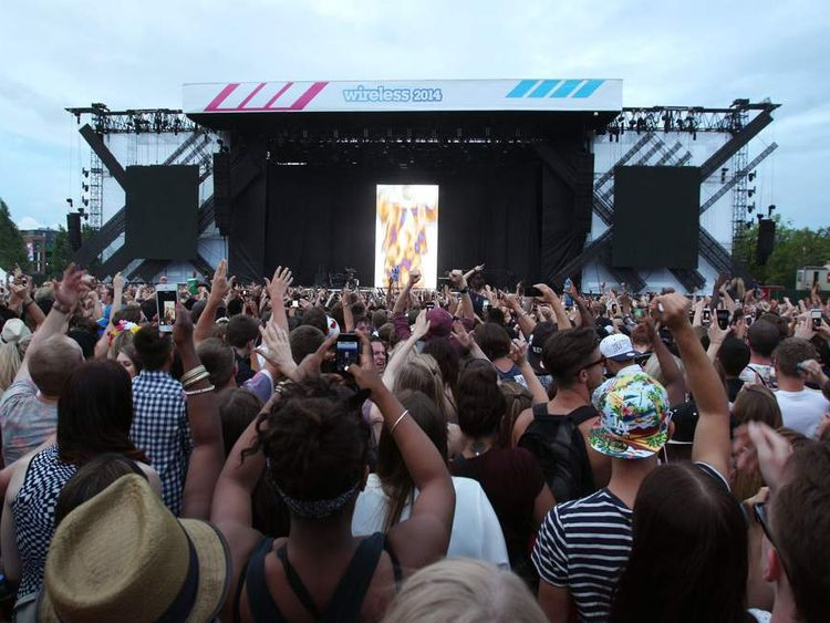 The crowd at the Wireless Festival watch Kanye West perform